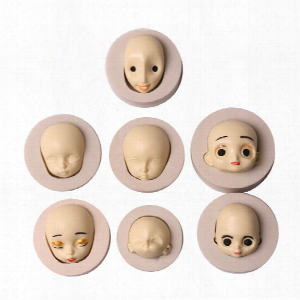 3d Face Diy Doll Silicone Mold Chocolate Fondant Craft  Xmas Cake Decoration Mold Sugarcraft Mould Baking Tool Random Col