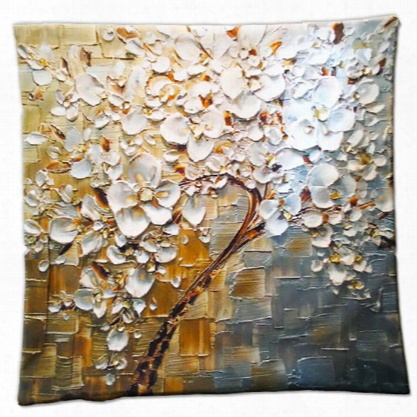 3d Flower Trees Painting Style Series Of Three-dimensional Pattern Magnolia Painting Style Cloth Pillow Cover
