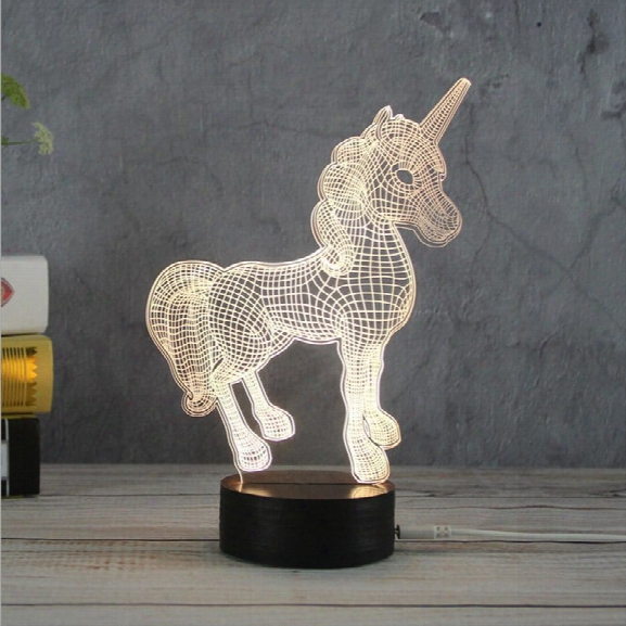 3d Unicorn Night Lights Creative Acrylic 3d Led Light Table Lamp Decotation Ligts For Home/kids Room/gift