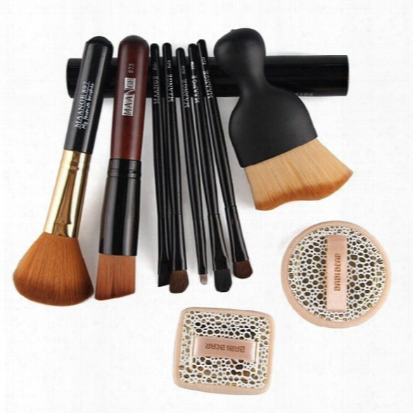 5 Pcs Eye Makeup Brushes Set With Brush Holder + 2 Pcs Powder Puffs + Wave Shape Blush Brush + Blush Brush + Foundation