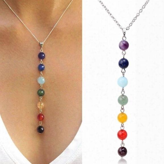7 Chakra Reiki Beads Heal Gemstone Yoga Balancing Lapis/turqoise/amethyst/jade Size 18 Color Multicolor
