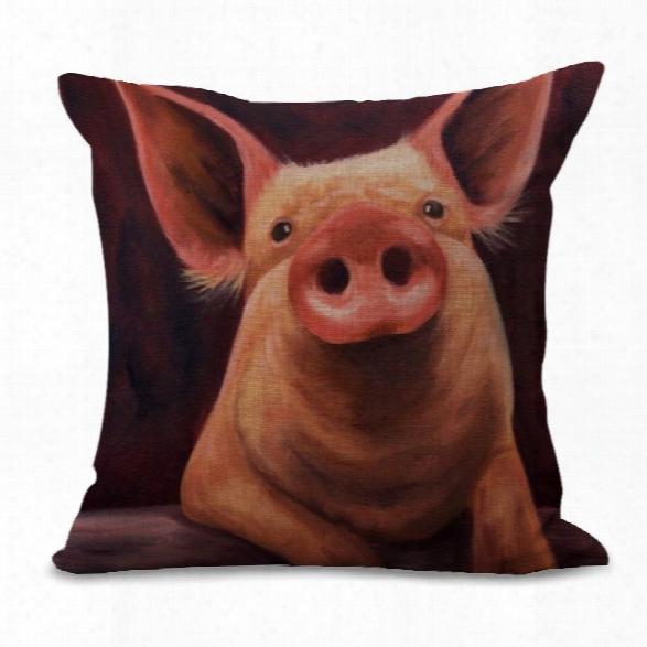 A1091-9 Cute Pig Print Sofa Cushion Cover Bedroom Living Room Pillowcase Waist Pillow Covers 45x45cm