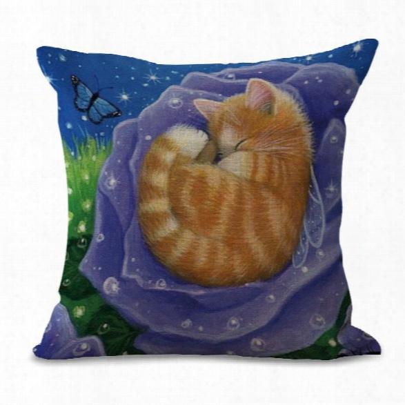 A1102-4 Animal Print Cotton Sofa Pillow Set Cat Cafe Cushion Cover Decoration Office Windows 45x45cm