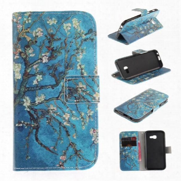 Apricot Blossom Pattern Pu+tpu Leather Wallet Case Design With Stand And Card Slots Magnetic Closure For Samsung Galaxy