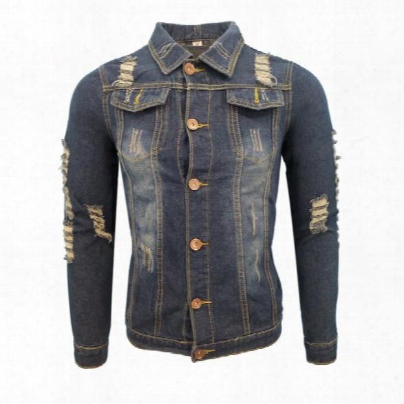 Autumn And Winter Men And Women In Europe Washed Retro Holes Casual Fashion Lapel Jacket Denim Jacket Coat