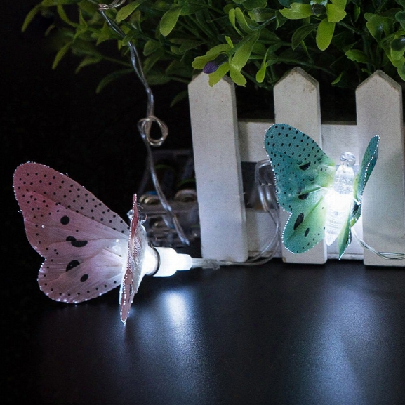 Battery-powered Plastic Fiber Butterfly String Light For Home And Garden Decoration 10 Leds And 1.65m