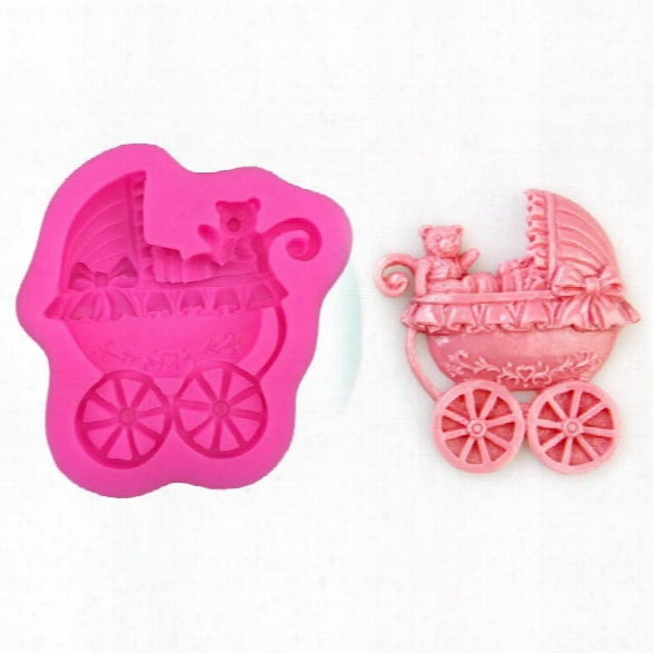 Bear Baby Carriage Car Bows Soap Mould Diy Fondant Baking Cake Decorating Tools Silicone Mold Kitchen Baking Accessories