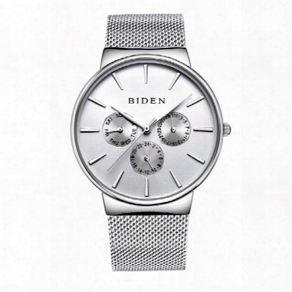 Biden Luxury Brand Men Watch Ultra Thin Stainless Steel Clock Male Quartz Sport Watch Men Waterproof Casual Wristwatch
