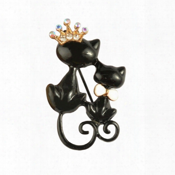 Black Mother Daughter Cqts Brooches Crystal Crown Queen Corsages Hijab Pin Women Hats Scarf Suit Brooch Clothes Buckles