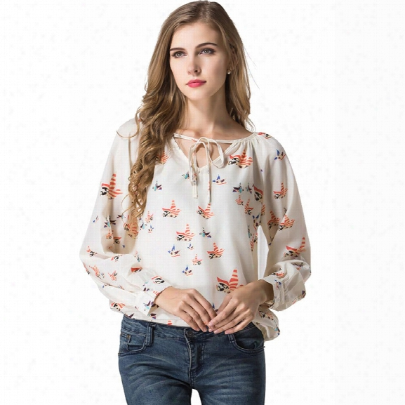 Blouse Women Shirt Top Long Sleeve Women Chiffon Blouse Shirt Casual Clothing Lady Flower Printed Blouses