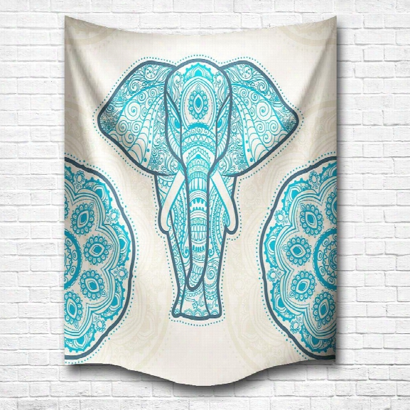 Blue Elephant Of The Mandala 3d Digital Printing Home Wall Hanging Nature Art Fabric Tapestry For Bedroom Decorations