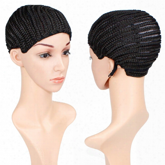 Braided Wig Cap Crochet Cornrows With Three Combs For Making Wigs Adjustable Medium Size Natural Black
