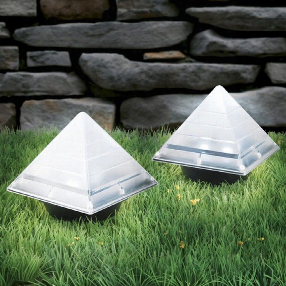 Brelong Sensor Solar Ground Lights Pyramid Shaped Underground Buried Light Outdoor Garden Lawn Path Lamp 2pcs