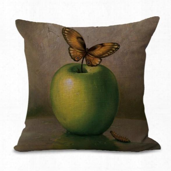 C1060-3 Retro Cartoon Printing Polyester Soft Sofa Pillowcase Bedroom Living Room Cushion Cover 45x45cm