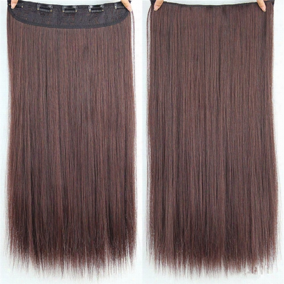 Chicshe Hair 23 Inch Longstraight Women Clip In Hair Extensions Black Brown High Tempreture Synthetic Hairpiece