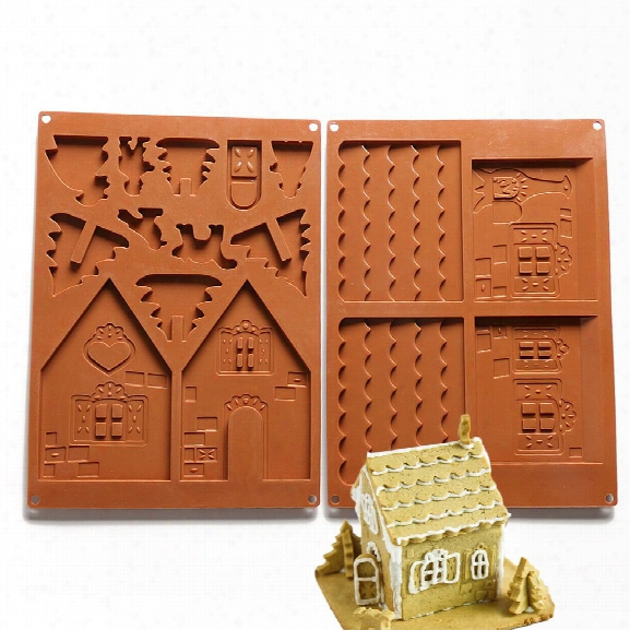 Christmas House Set Silicone Chocolate Candy Cake Biscuits Cake Baking Cooking Fondant Decoration Mould Random Color 2pc