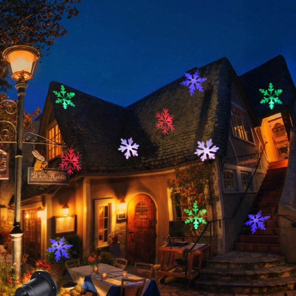 Christmas Light Projector Colorful Moving Snowflakes Waterproof Led Landscape Projector Light For Indoor Outdoor-eu Plug