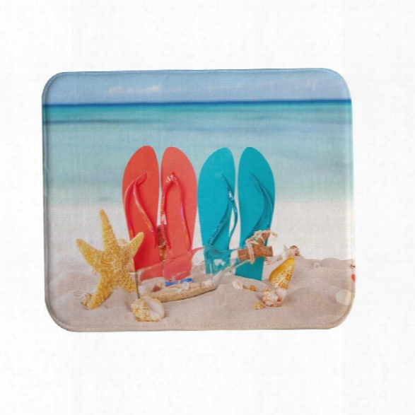 Couple Beach Shoes Bath Mat Rug Super Soft Non-slip Machine Washable Quickly Drying Antibacterial For Kitchen