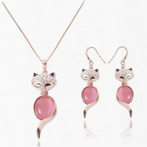 Cute Chic Rhinestone And Faux Opal Decorated Fox Shape Pendant Necklace And A Pair Of Earrings For Women
