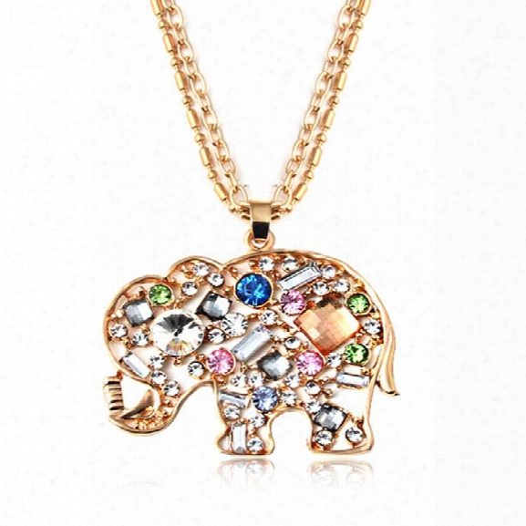 Cute Crystal Rhinestone Colorful The Elephant Statement Necklace * Pendant For Women Fashion Jewelry
