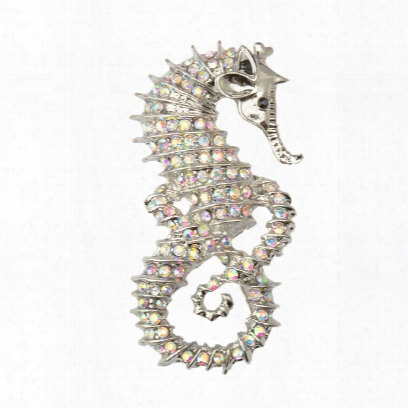 Cute Seahorse Brooches Fashion Silver-color Animal Full Rhinestone Brooches Austrian Crystal Brooch Pin For Women Gifts