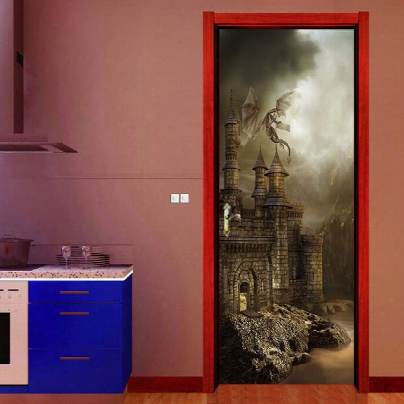 Dsu Amzon Hot Sale Door Stickers Landscape Waterproof Living Room Bedroom Door Wallpaper Self Adhesive Art Wall Decals I