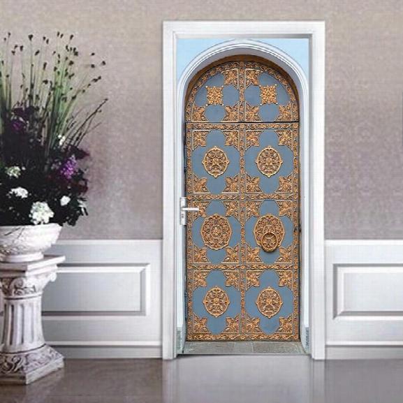 Dsu Door Stickers Landscape Waterproof Living Room Bedroom Door Art Wall Decals Imitation 3d Wall Sticker