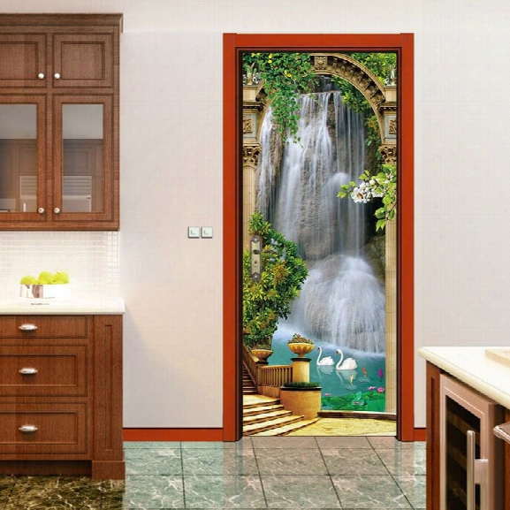 Dsu Fashion 3d Three-dimensional Wall Decorative Stickers Painting Waterfall Living Room Door Stickers