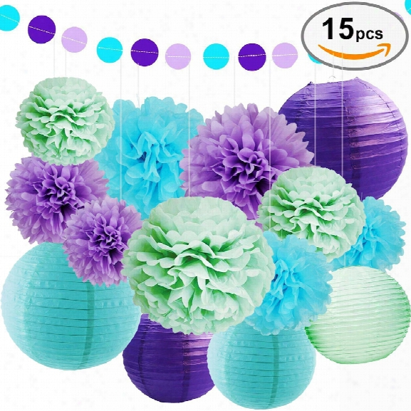 Eastern Hope Sea Theme Bridal Shower Party Decoration - Paper Lanterns, Tissue Pom Poms Flowers, Paper Garland And Polka