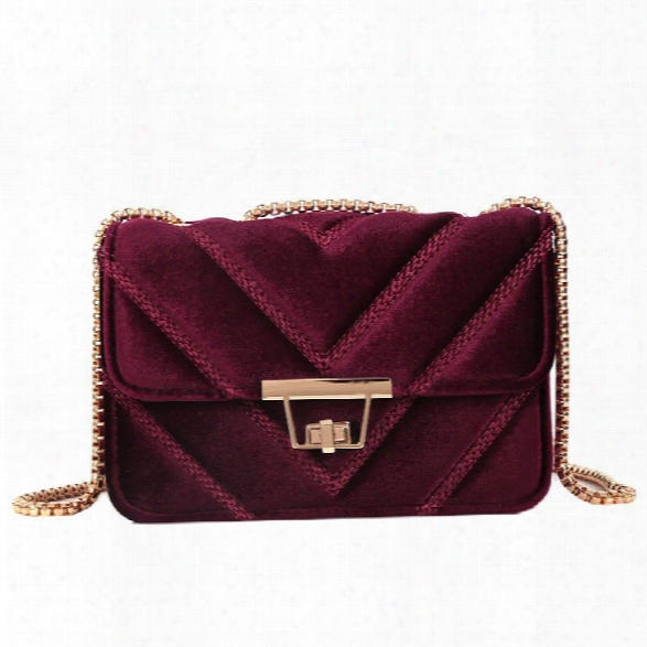 Embroidered Line V Grain One-shoulder Bag Velvet Small Square Bag Of New Women Inclined To Cross Small Bags