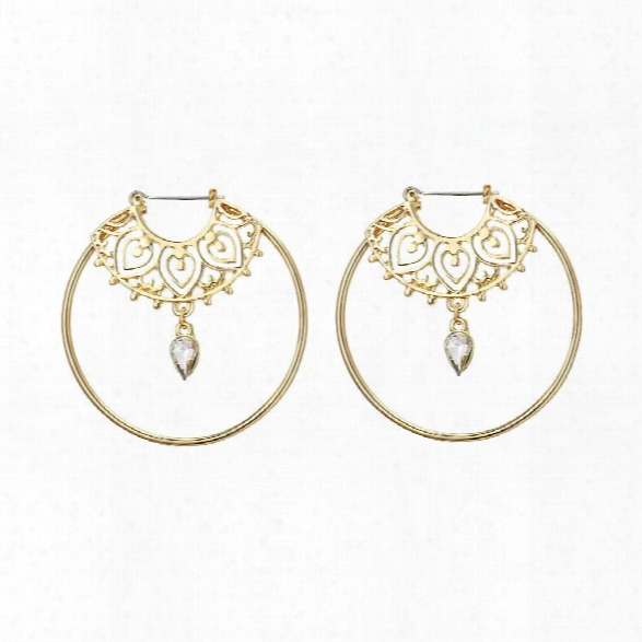 Europe And The United States Simple Geometric Fashion Round Earrings Diamond Pendant Hollow Pierced Earrings