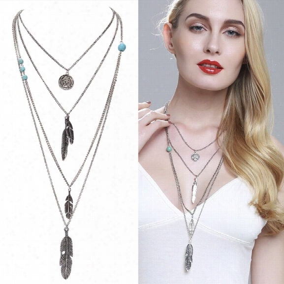 European And American Jewelry Multilayer Alloy Necklace Feather Pendant Turquoise Accessories Ladies Ornaments