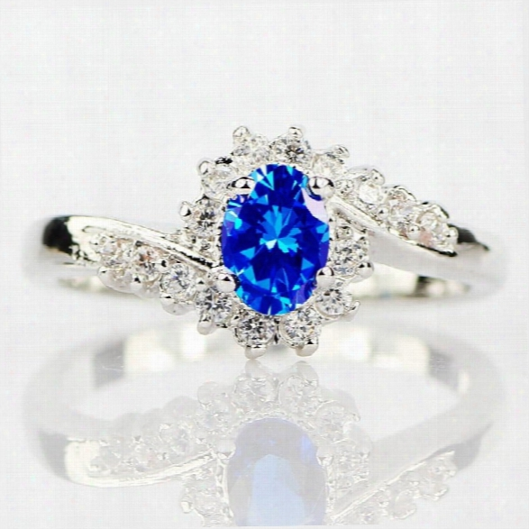 Exquisite 925 Sterling Silver Natural Sapphire Gemstones Birthstone Bride Princess Wedding Engagement Strange Ring Size