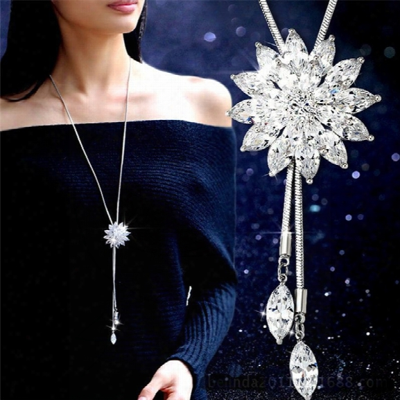Fashion Charm Bridal Engagement Crystal Rhinestone Snowflake Pendant Necklace Women Wedding Jewelry Gifts