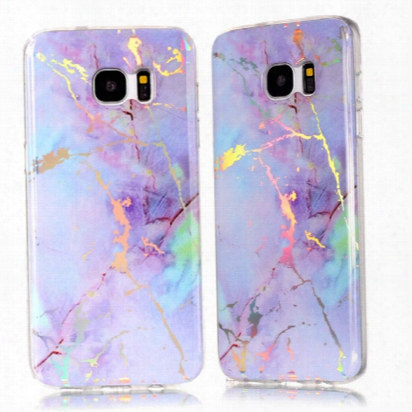 Fashion Color Plated Marble Phone Case For Samsung Galaxy S7 Edge Case Cover Luxurious Soft Tpu Full 360 Protection Case