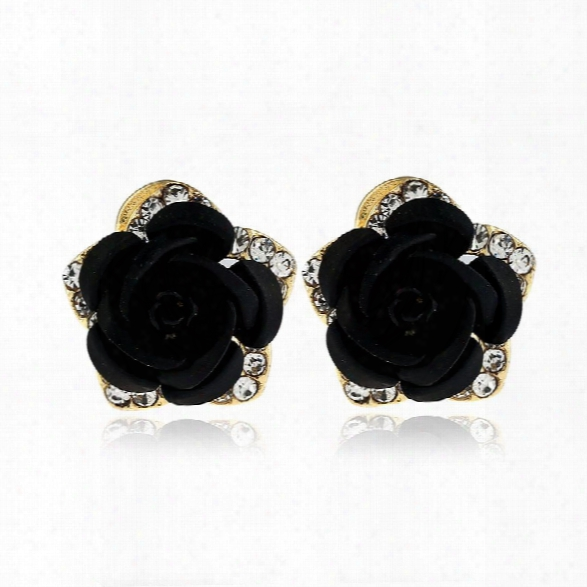 Fashion Crystal Rose Pierced  Stud Earrings Rhinestone Imitation Earrings Trendy Cz Jewelry Gift For Woman