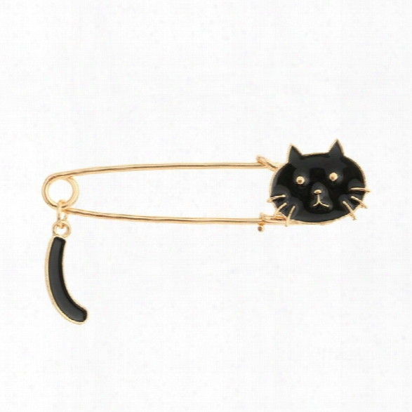 Fashion Cute Cat Black White Enamel Insect Brooches For Women Kids Animal Bfooch Jewelry Pins Party Gifts Accessories