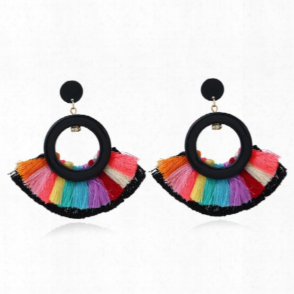 Fashion Jewelry Acrylic Round Charm Tassels Earrings Ethnic Bohemia Style Handmade Drop Earrings For Women