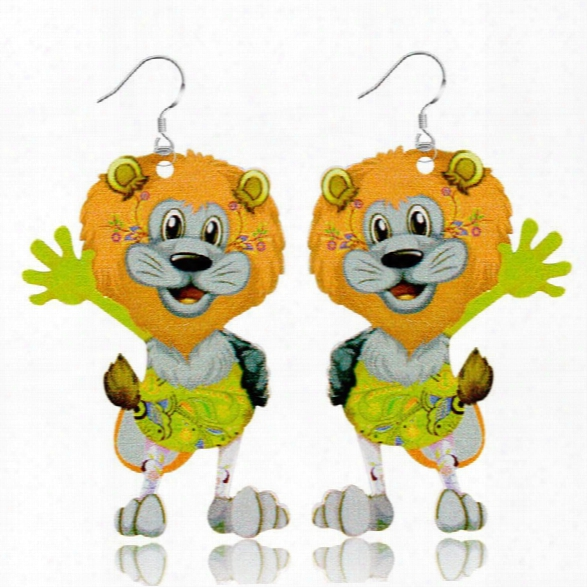 Fashion Jewelry Brand Cartoon Animal Lion Happy Prairie Story Series Drop Earrings For Women And Girls
