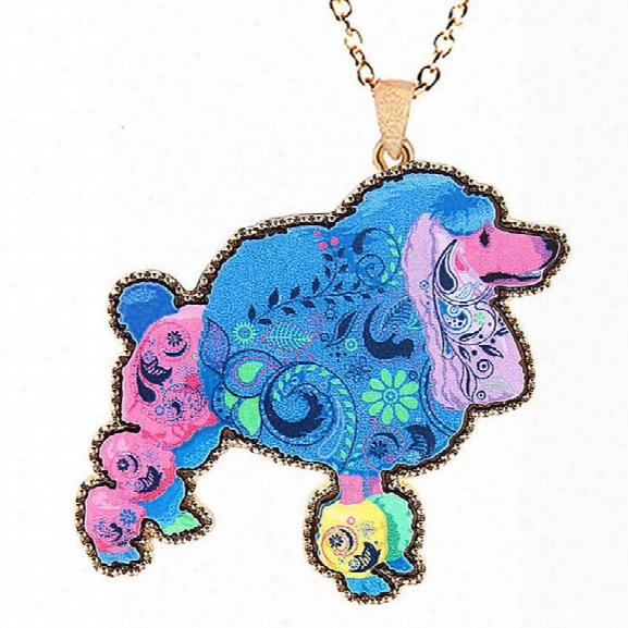 Fashion Jewelry Original Design Animal Cute Poodle Painting Link Chain Dog Pendant Chokers Necklaces For Women And Pet