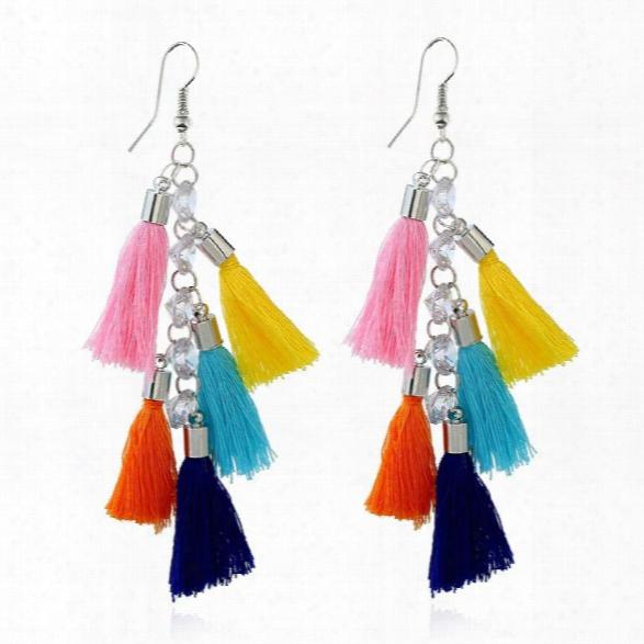 Fashion Jewelry Tassels Pendant Earrings Bohemia Crystal Charm Irregular Trendy Long Drop Earrings For Women