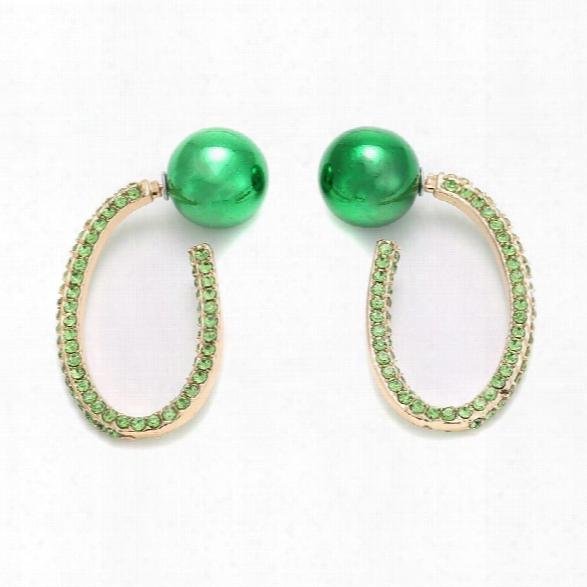 Fashion Trendy Oval Colorful Rhinestone Crystal Dangle Earrings Vintage Boho Charm Drop Earrings For Women Jewelry