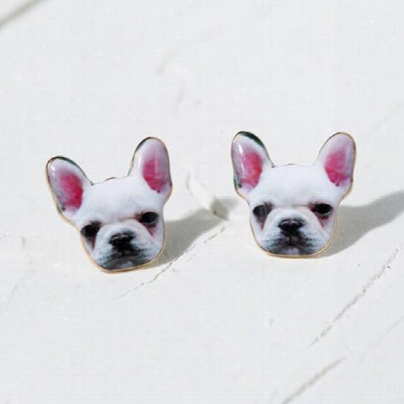 Fashion Vintage Animal Oil French Bulldog Earrings For Women Cute Puppy Dog Stud Earrings Boucle D'oreille Femme