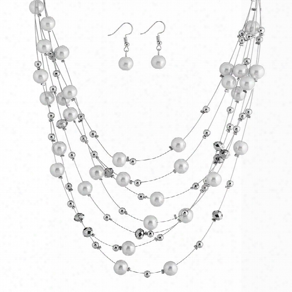 Fashion Women Jewelry Sets Multilayer Necklaces Sets Bridal Wedding Necklace Top Quality Round Beeads Plated Sets