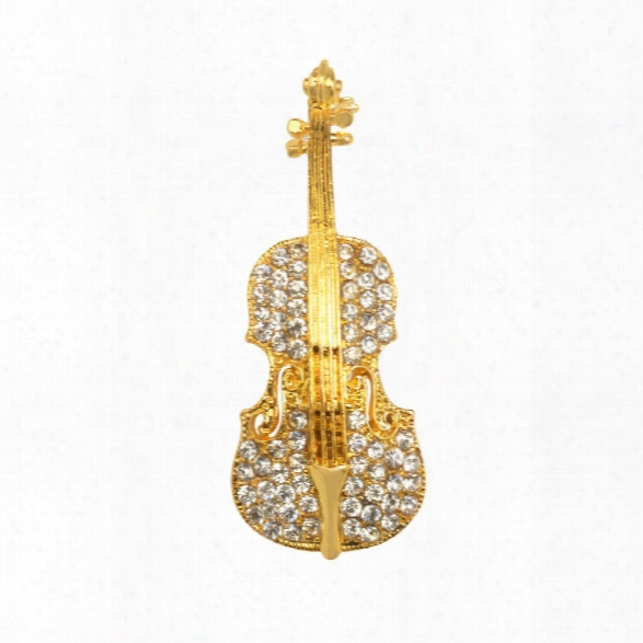 Fashion Womne Pins Personality Brooches Crystal Rhinestones Violin Brooches Pin Jewelry Accessories Brooch