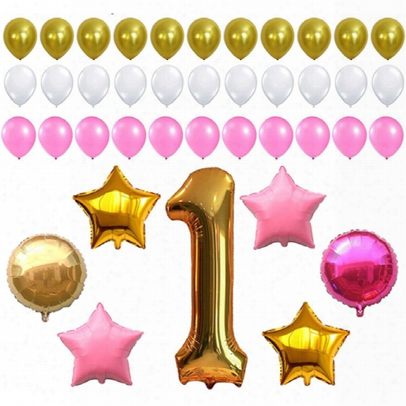 First Birthday Decoration Pink White Gold Balloons Kit Perfect For 1st Bday Party Supplies Girl Or Boy Number One 1 Late