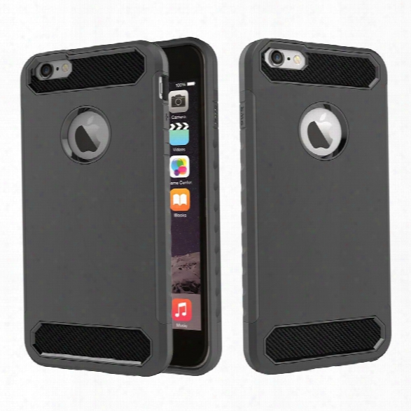 For Iphone 6/6s Shockproof Hard Pc Flexible Tpu Laminated Carbon Fiber Chrome Anti-scratch Protective Case