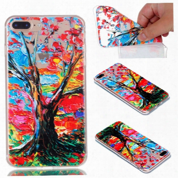 For Iphone 7 Plus Colorful Tree Painted Relief Soft Clear Tpu Phone Casing Mobile Smartphone Cover Case