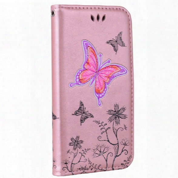 For Samsung Samsing Galaxy A5 2017 Butterfly Pattern Pu Leather Wallet Flip Protective Case Cover With Card Slots