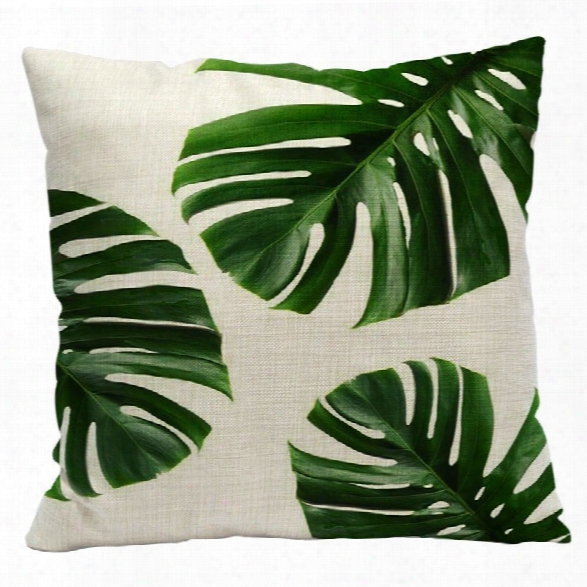 Fresh Green Leaves Fashion Tropical Plants Cotton Linen Pillowcase Cushions Office Pillow Bed Car Waist Back